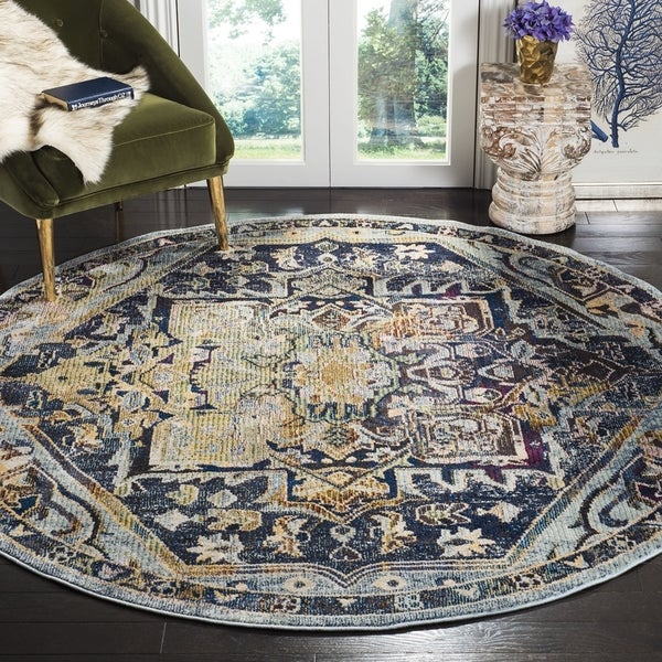 Safavieh Savannah Traditional Navy / Creme Polyester Rug (7' x 7' Round)