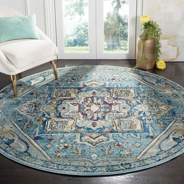 Safavieh Savannah Traditional Blue / Navy Polyester Rug (7' x 7' Round) - 7' x 7' Round