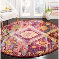 Safavieh Savannah Traditional Red / Violet Polyester Rug - 7' Round