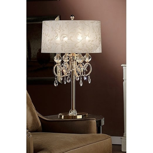 32.5 Inch Aurora Barocco Shade Crystal Gold Table Lamp