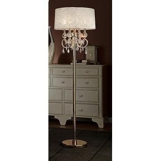 63 Inch Aurora Barocco Shade Crystal Gold Floor Lamp