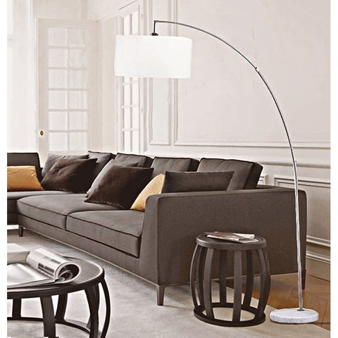 86 Inch Allegro Silver Arc White Marble Floor Lamp