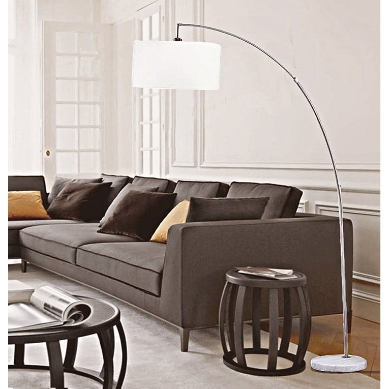 Superbe 86 Inch Allegro Silver Arc White Marble Floor Lamp
