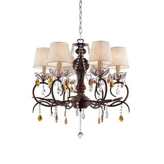27 Inch Magnolia Crystal Bronze Ceiling Lamp Chandelier