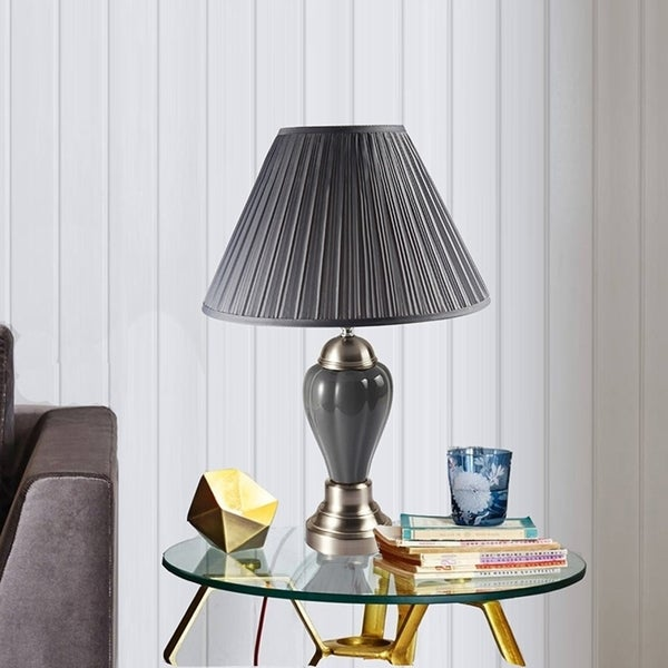 27 Inch Cermaic and Metal Silver Table Lamp