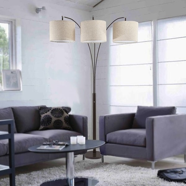 84 Inch Novalit 3-Arc Espresso Metal Floor Lamp