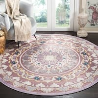 "Safavieh Paradise Contemporary Purple / Cream Viscose Rug - 6'7"" x 6'7"" round"