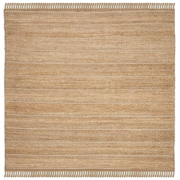 Safavieh Hand-Woven Natural Fiber Contemporary Natural / Light Grey Jute Rug (6' x 6' Square)
