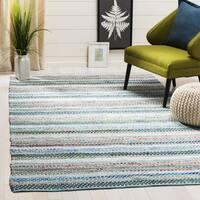 Safavieh Hand-Woven Montauk Contemporary Aqua / Multi Cotton Rug - 6' Square