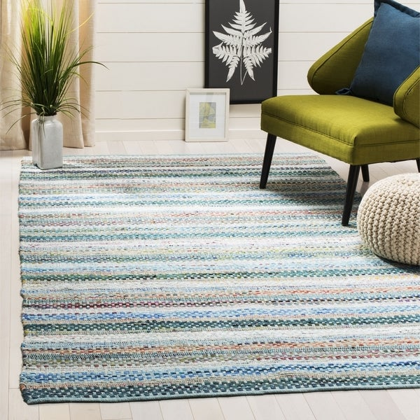 Safavieh Hand-Woven Montauk Contemporary Aqua / Multi Cotton Rug - 6' x 6' Square