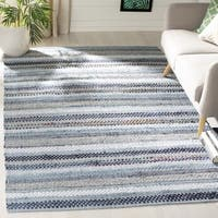 Safavieh Hand-Woven Montauk Contemporary Blue / Multi Cotton Rug - 6' Square