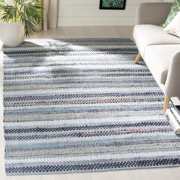 Safavieh Hand-Woven Montauk Contemporary Blue / Multi Cotton Rug - 6' Square