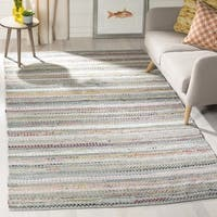Safavieh Hand-Woven Montauk Contemporary Grey / Multi Cotton Rug - 6' x 6' Square