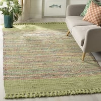 Safavieh Hand-Woven Montauk Contemporary Green / Multi Cotton Rug (6' x 6' Square) - 6' x 6' Square