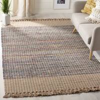 Safavieh Hand-Woven Montauk Contemporary Beige / Multi Cotton Rug - 6' Square