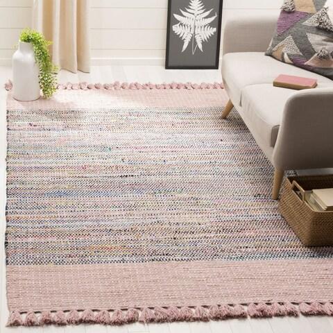 Safavieh Hand-Woven Montauk Contemporary Pink / Multi Cotton Tassel Area Rug - 6' x 6' Square