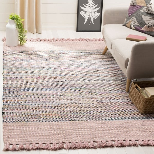 Safavieh Hand-Woven Montauk Contemporary Pink / Multi Cotton Rug (6' x 6' Square)