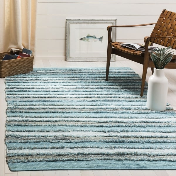 Safavieh Hand-Woven Montauk Contemporary Aqua / Multi Cotton Rug (6' x 6' Square) - 6' x 6' Square