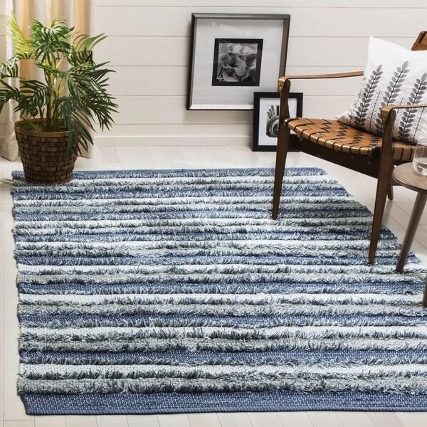 Safavieh Hand-Woven Montauk Contemporary Blue / Multi Cotton Rug (6' x 6' Square)