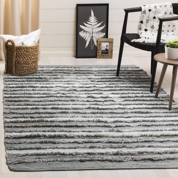 Safavieh Hand-Woven Montauk Contemporary Grey / Multi Cotton Rug (6' x 6' Square) - 6' x 6' Square