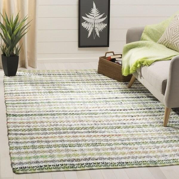 Safavieh Hand-Woven Montauk Contemporary Green / Multi Cotton Rug (6' x 6' Square)