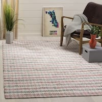 Safavieh Hand-Woven Montauk Contemporary Pink / Multi Cotton Rug (6' x 6' Square) - 6' x 6' Square