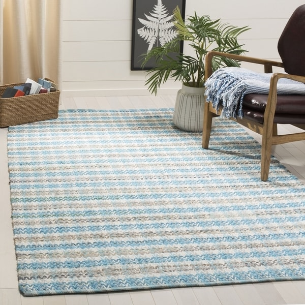 Safavieh Hand-Woven Montauk Contemporary Aqua / Multi Cotton Rug (6' x 6' Square)