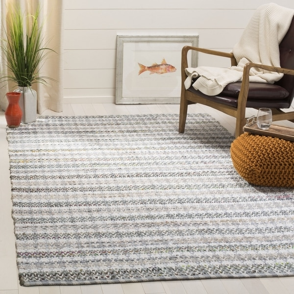 Safavieh Hand-Woven Montauk Contemporary Grey / Multi Cotton Rug (6' x 6' Square)