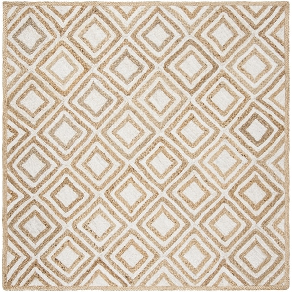 Safavieh Hand-Woven Cape Cod Contemporary Natural / Ivory Jute Rug (6' x 6' Square)