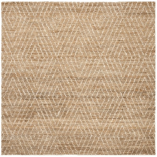 Safavieh Hand-Knotted Bohemian Contemporary Natural / Ivory Jute Rug (6' x 6' Square) - 6' x 6' Square