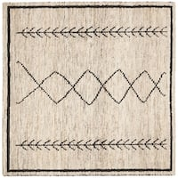 Safavieh Hand-Knotted Bohemian Contemporary Ivory / Black Jute Rug (6' x 6' Square) - 6' x 6' Square