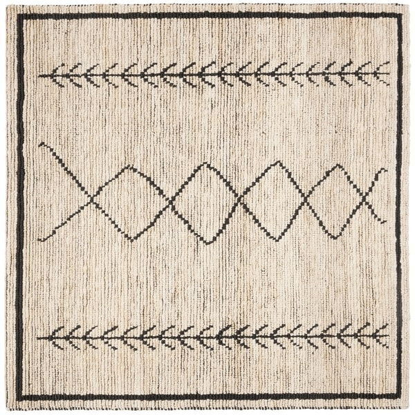 Safavieh Hand-Knotted Bohemian Contemporary Ivory / Black Jute Rug (6' x 6' Square)