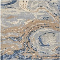 Safavieh Handmade Soho Contemporary Grey / Beige Wool Rug (6' x 6' Square)