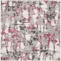 "Safavieh Skyler Contemporary Grey / Pink Rug (6'7' x 6'7' Square) - 6'-7"" x 6'-7"" square"
