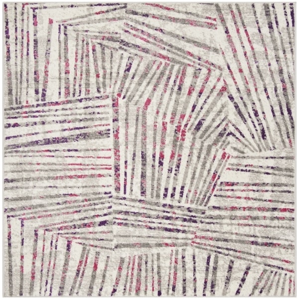 Safavieh Skyler Contemporary Grey / Pink Rug (6'7' x 6'7' Square)