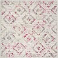 "Safavieh Skyler Contemporary Ivory / Pink Rug (6'7' x 6'7' Square) - 6'-7"" x 6'-7"" square"