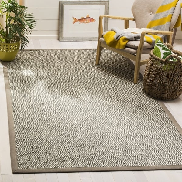Safavieh Natural Fiber Contemporary Natural / Taupe Seagrass Rug (6' x 6' Square) - 6' x 6' Square