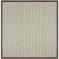 Safavieh Natural Fiber Contemporary Teal / Brown Seagrass Rug (6' x 6' Square)