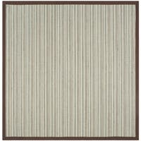 Safavieh Natural Fiber Contemporary Teal / Brown Seagrass Rug (6' x 6' Square) - 6' x 6' Square