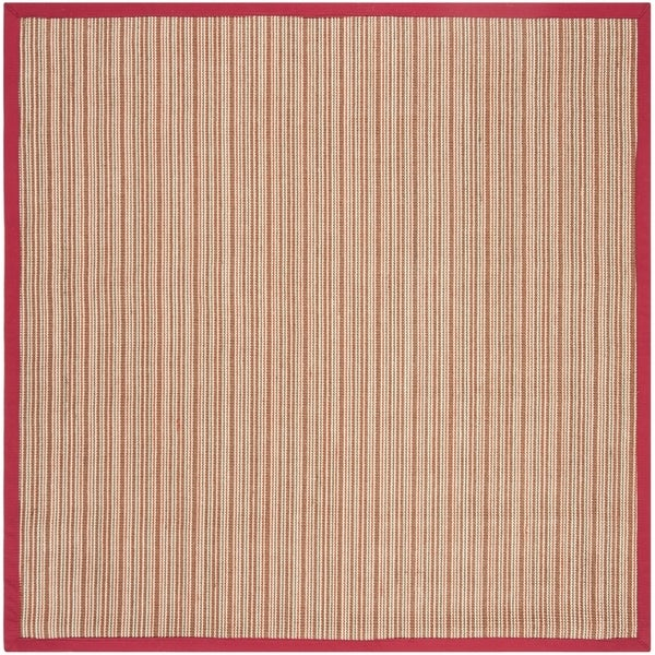 Safavieh Natural Fiber Contemporary Brown / Red Seagrass Rug (6' x 6' Square)