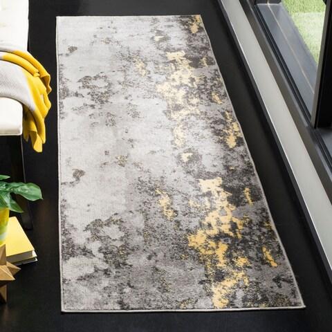 "Safavieh Adirondack Apollo Modern Abstract Grey / Yellow Area Rug - 2'6"" x 8'"