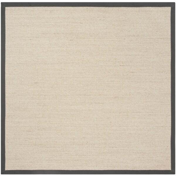 Safavieh Natural Fiber Contemporary Natural / Dark Grey Seagrass Rug (6' x 6' Square)