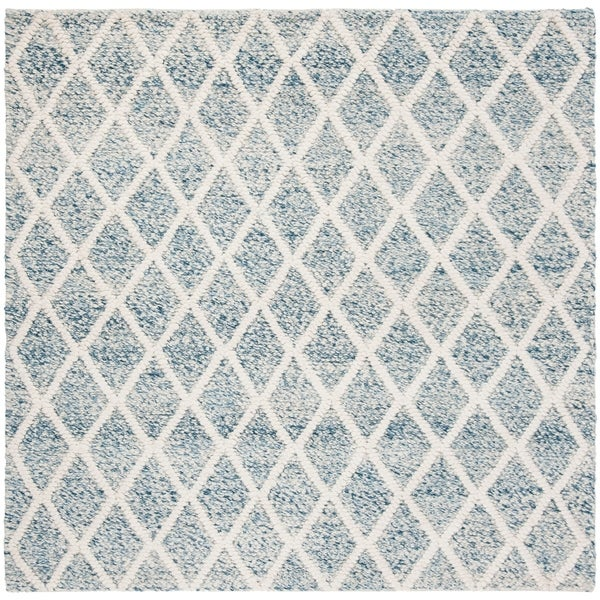 Safavieh Handmade Natura Transitional Ivory / Blue Polyester Rug - 6' x 6' Square