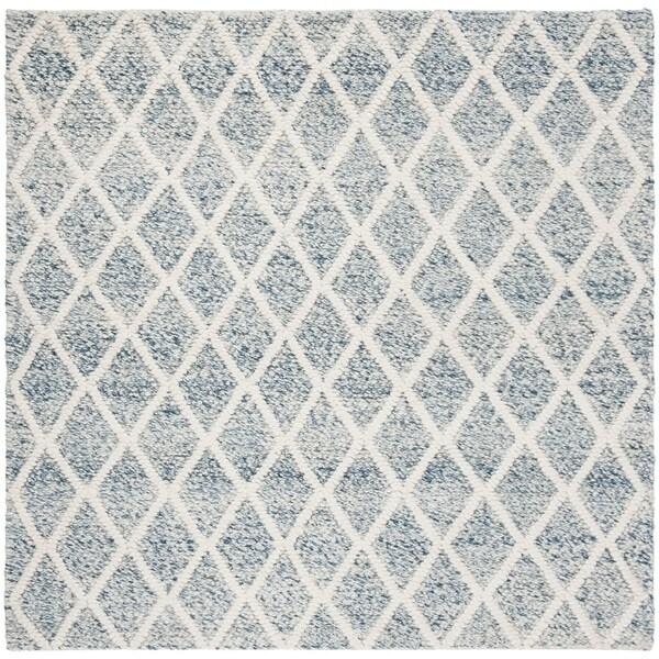Safavieh Handmade Natura Southwestern Ivory / Blue Wool Rug (6' x 6' Square)