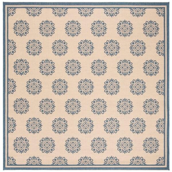 Safavieh Linden Contemporary Blue / Creme Rug - 6'7' x 6'7' Square