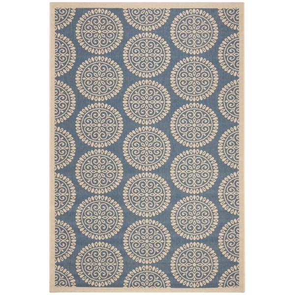 Safavieh Linden Contemporary Blue / Creme Rug (6'7' x 6'7' Square)