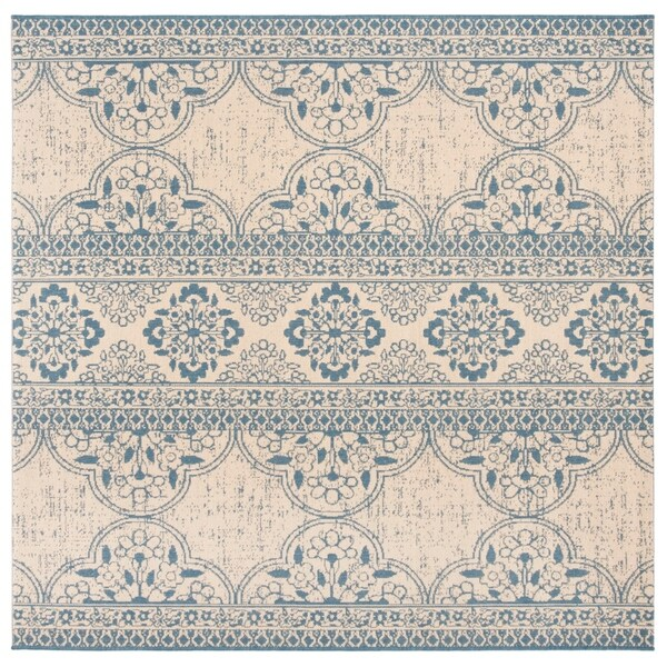 "Safavieh Linden Transitional Blue / Creme Rug - 6'7"" x 6'7"" square"