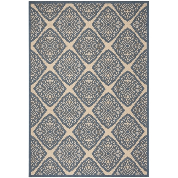 Safavieh Linden Contemporary Cream / Blue Rug (6'7' x 6'7' Square)