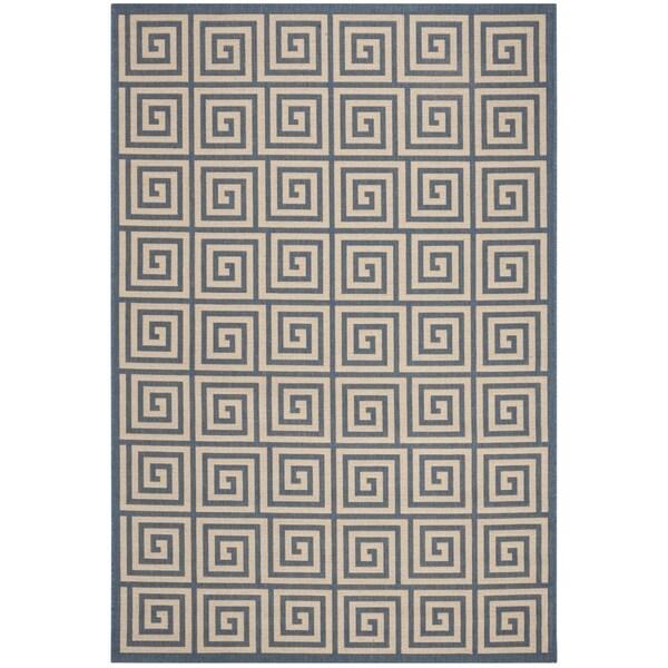 Safavieh Linden Contemporary Cream / Blue Rug (6'7' x 6'7' Square)