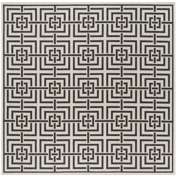 Safavieh Linden Contemporary Light Grey / Charcoal Rug - 6'7' x 6'7' Square